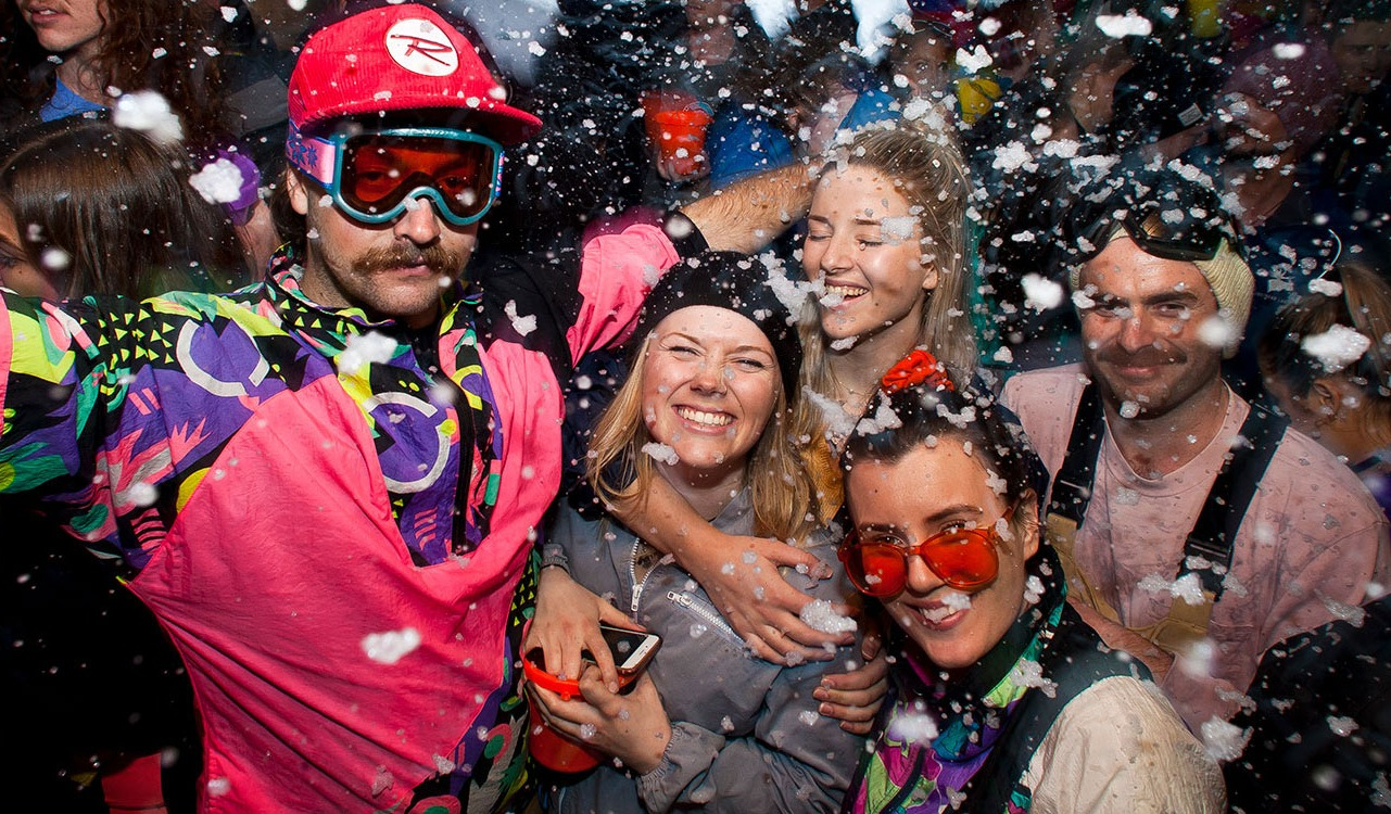 partygoers at whistler ski and snowboard festival
