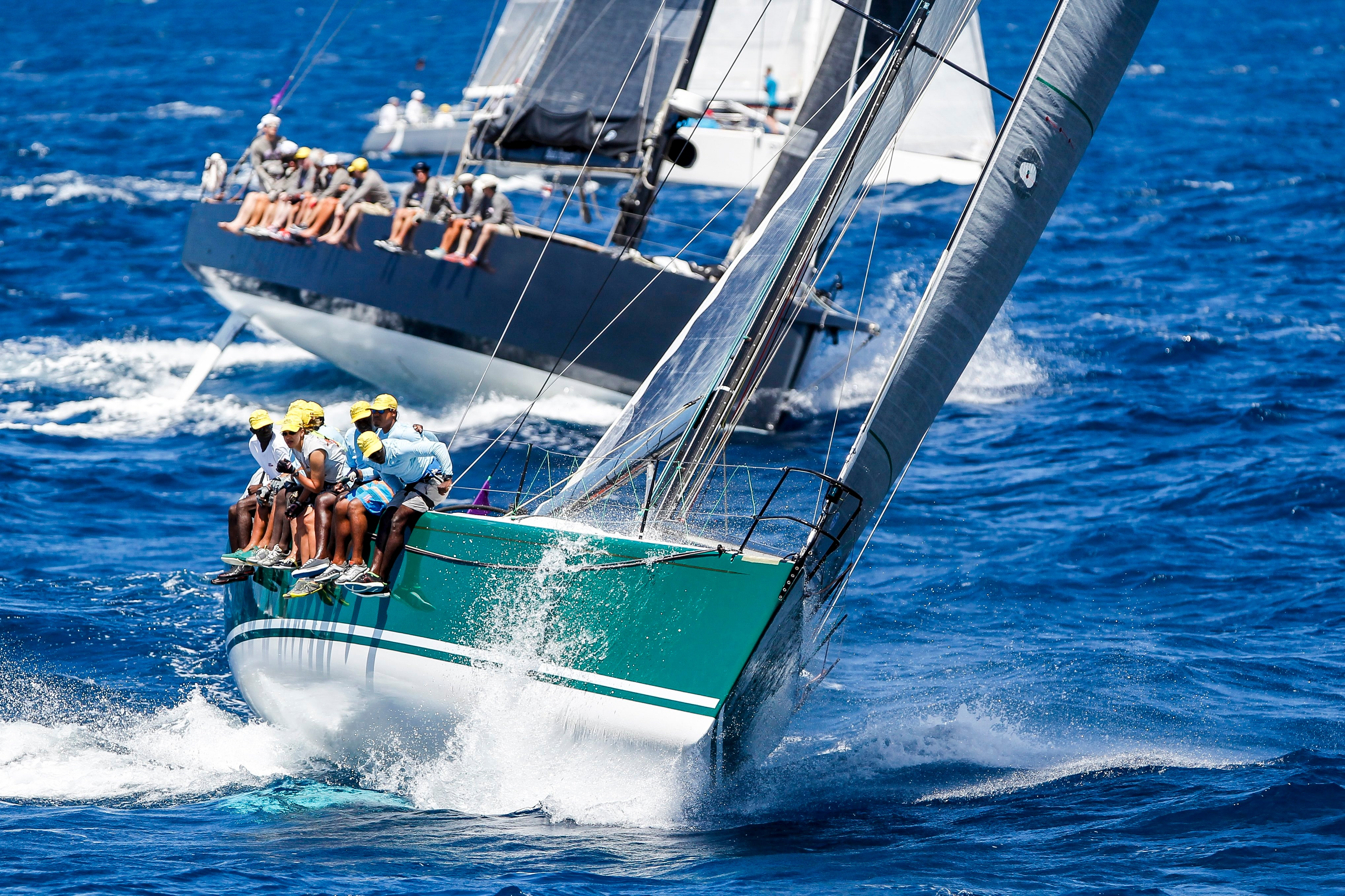 Antigua Sailing Week - four yachts racing in choppy waters