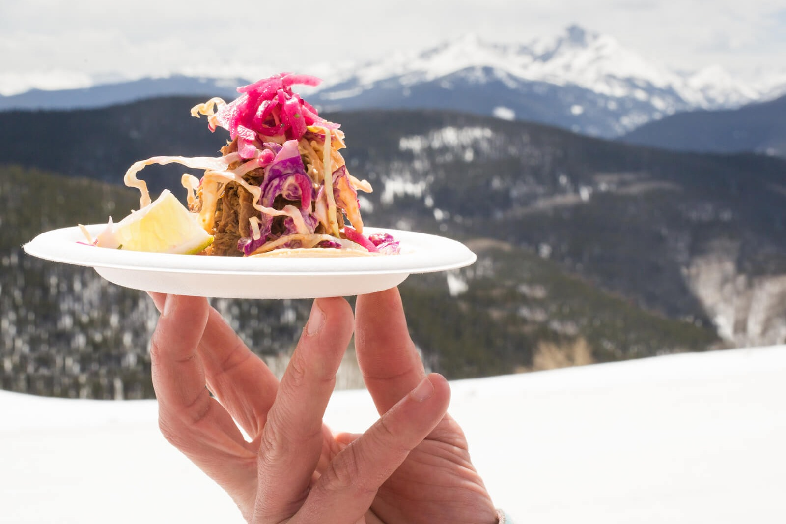 Gourmet food closeup with mountains in the background at Taste of Vail