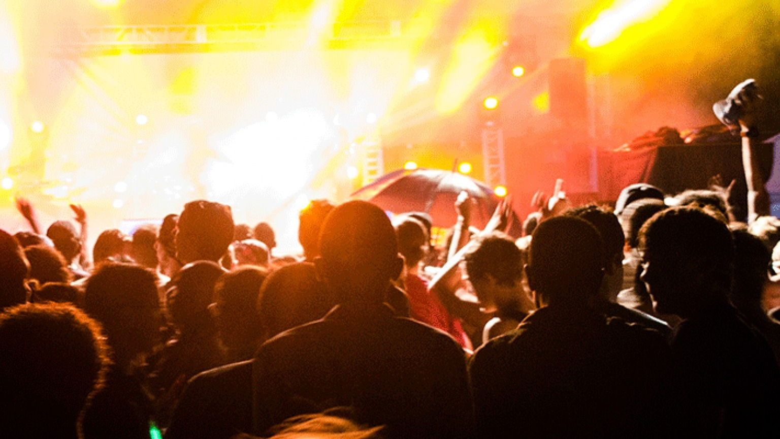 Crowds and lit up stage at Vic Falls Carnival