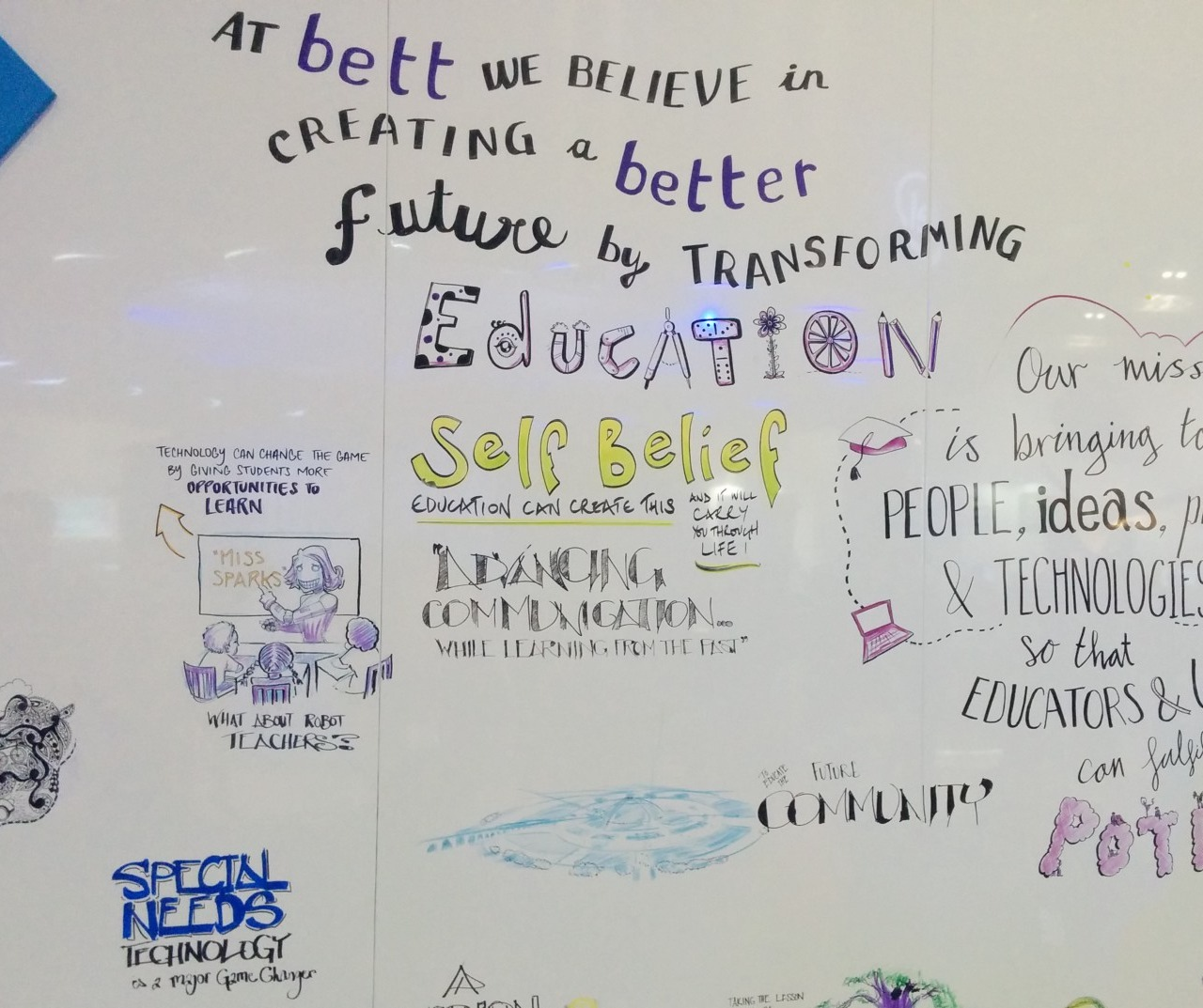 Brainstorming beliefs and ideas at Bett Conference for education
