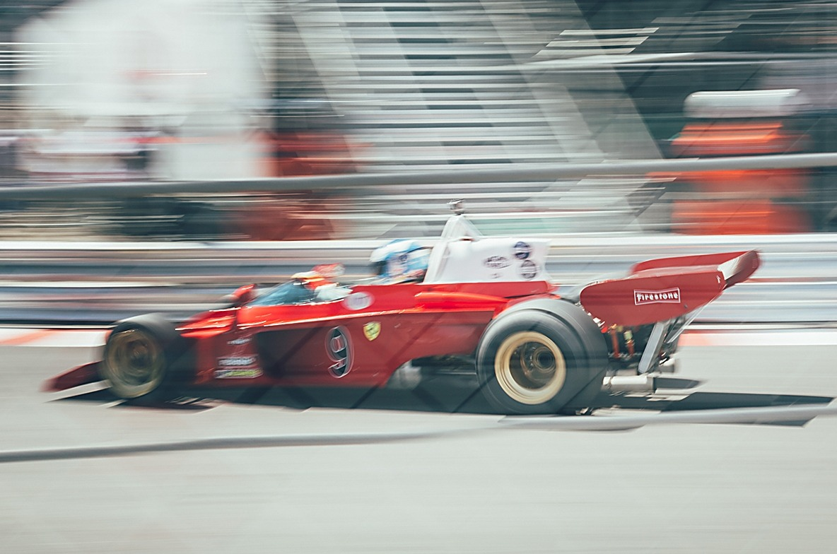 Red historic car racing at Monaco Historic Grand Prix