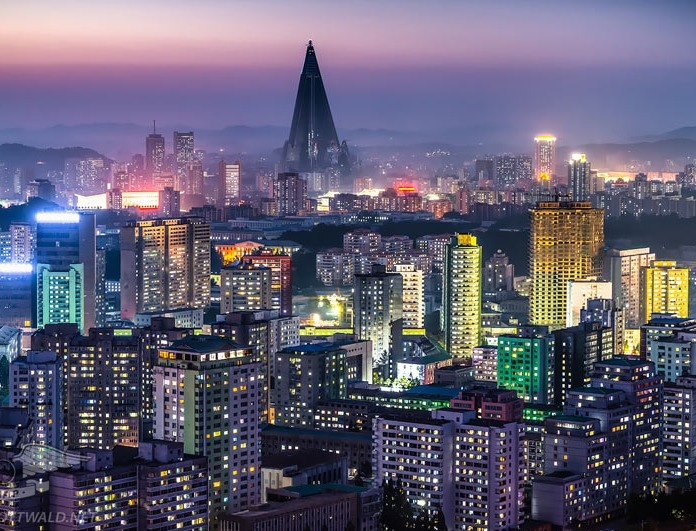 Bright lights of the city in North Korea