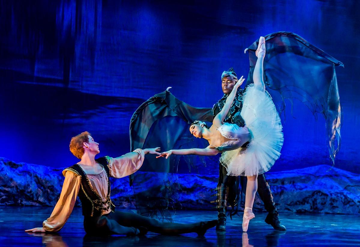 Swan Lake Ballerinas posed on stage