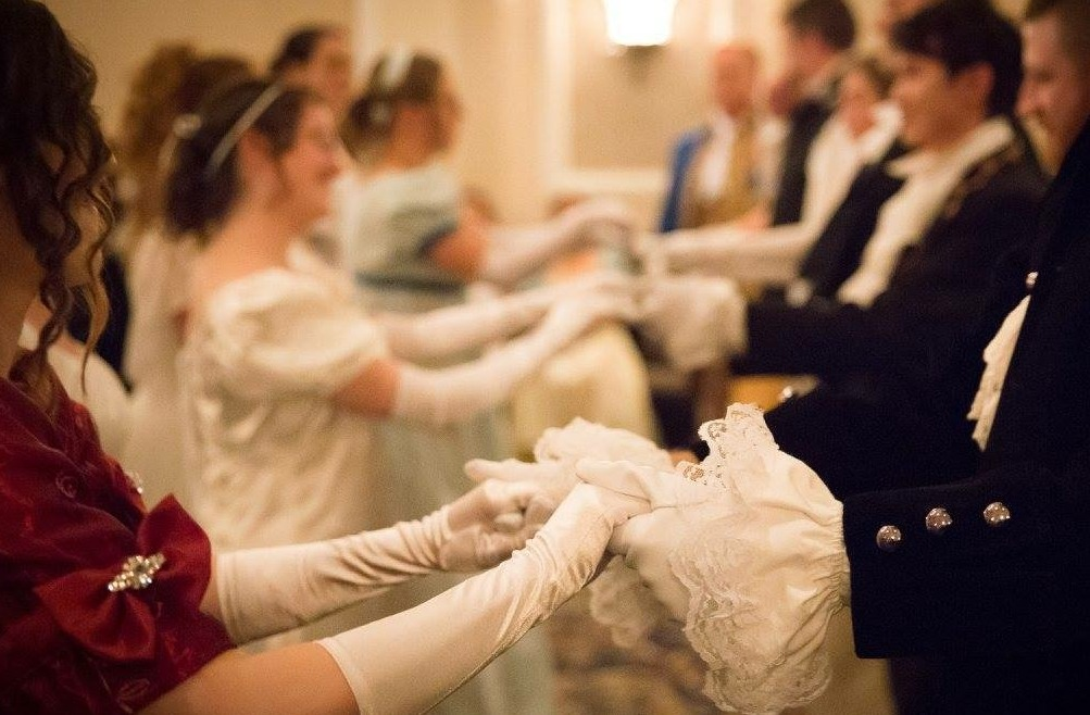 Guests dancing at the Pride and Prejudice Ball