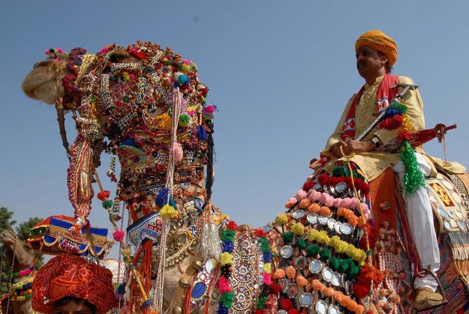 Colourful decorated camel at Pushkar Camel Fair