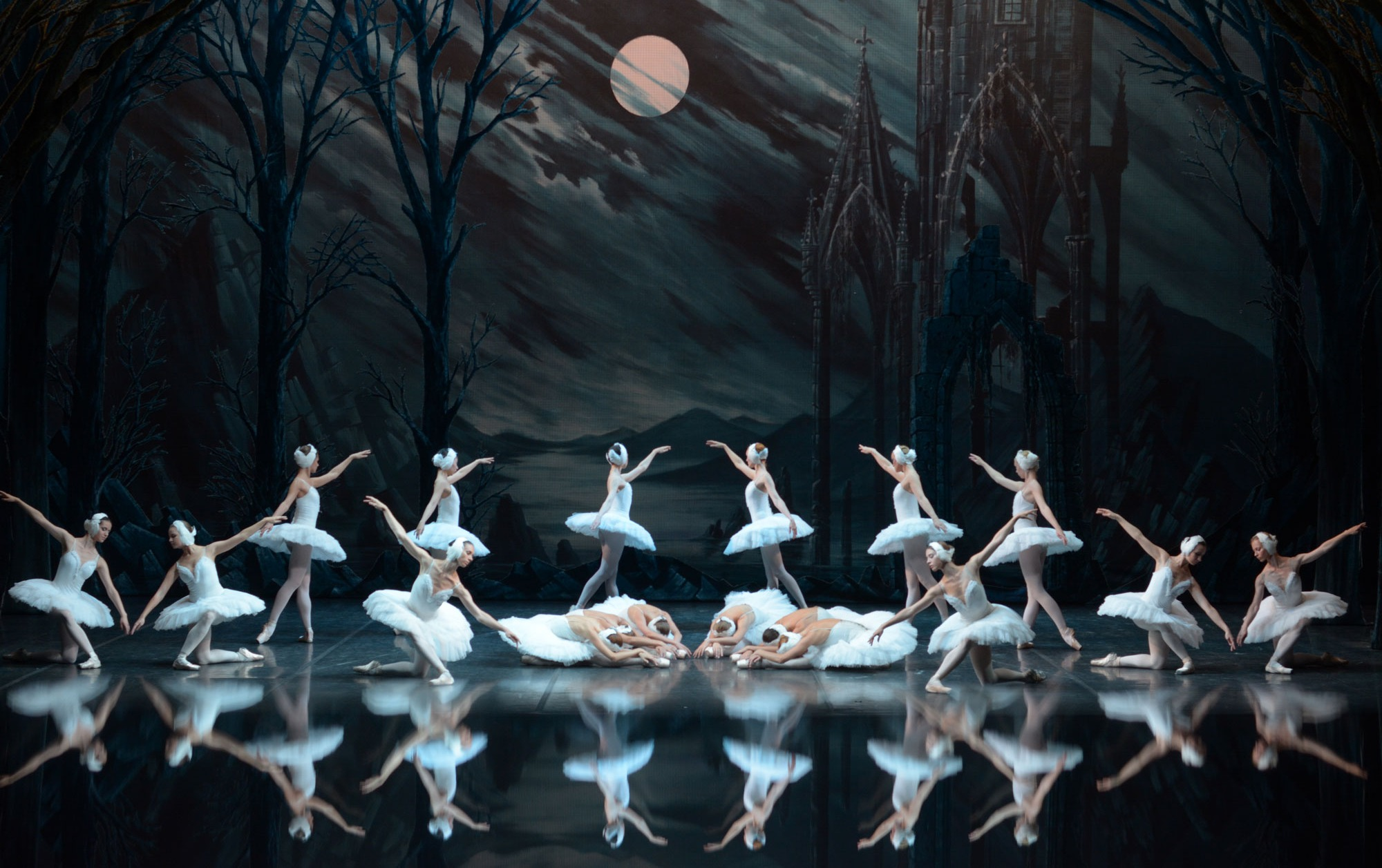 Swan Lake ballerinas with spooky stage set