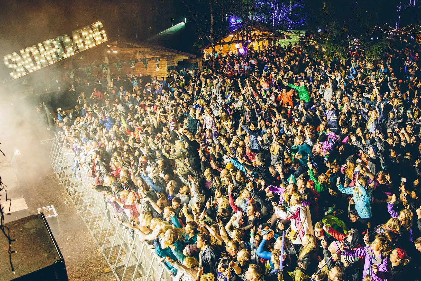 Crowds partying at night at Snowbombing festival, Austria