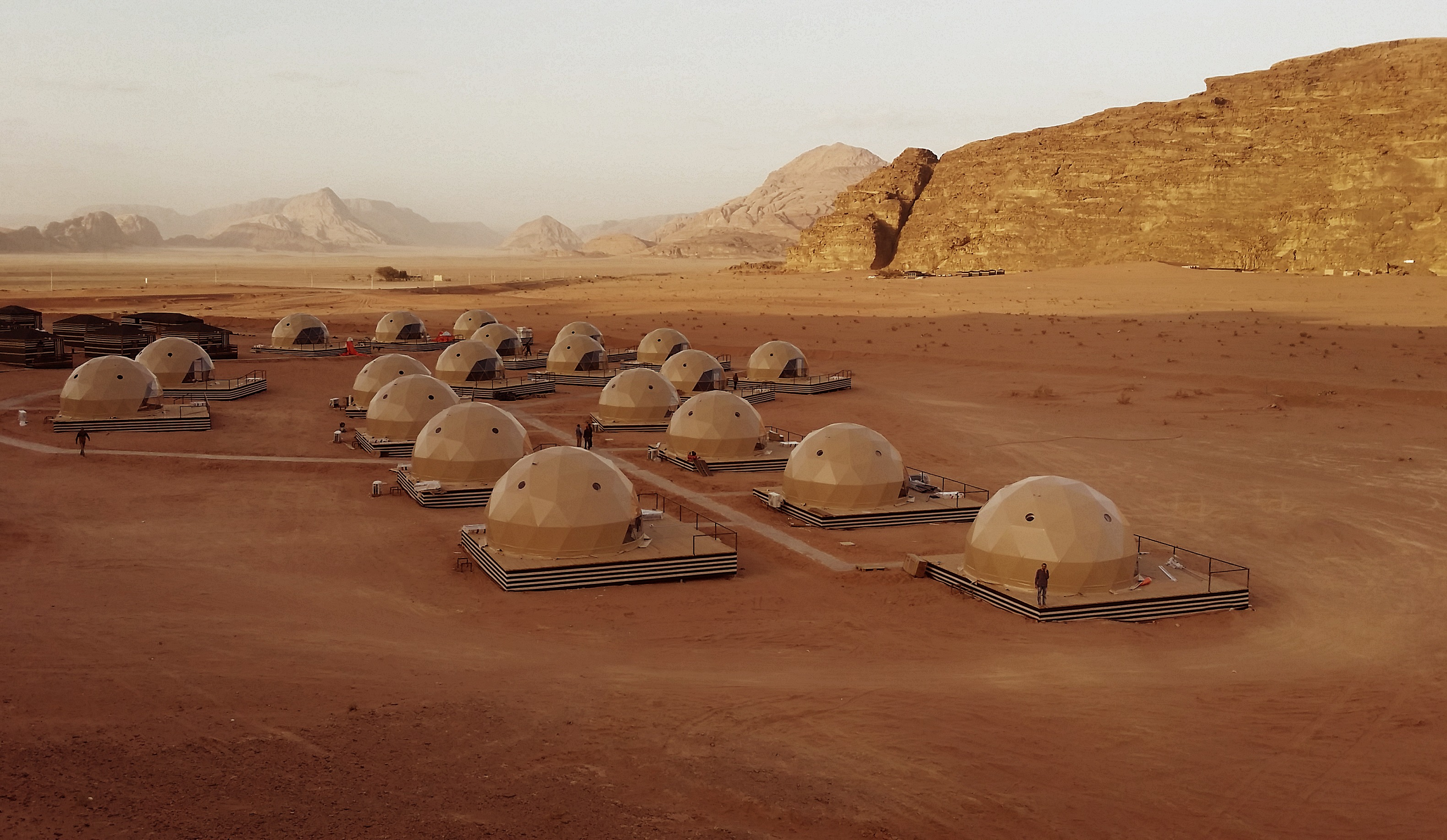 Martian glamping in the desert at Sun City Jordan