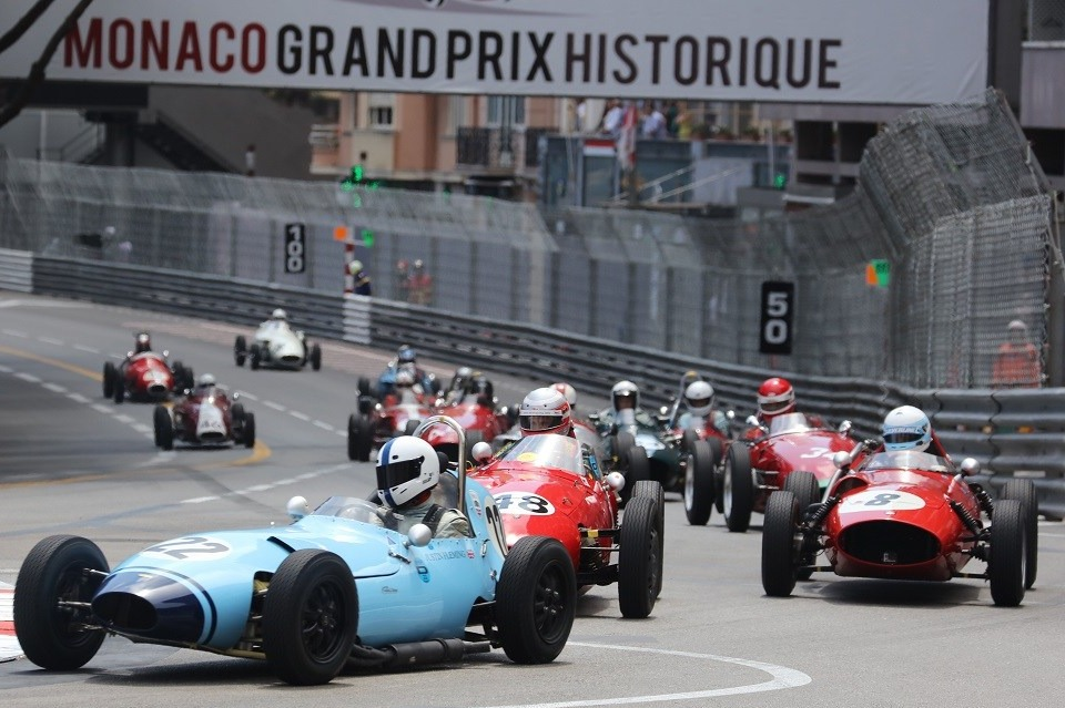Classic cars racing on the track at Monaco Historic Grand Prix