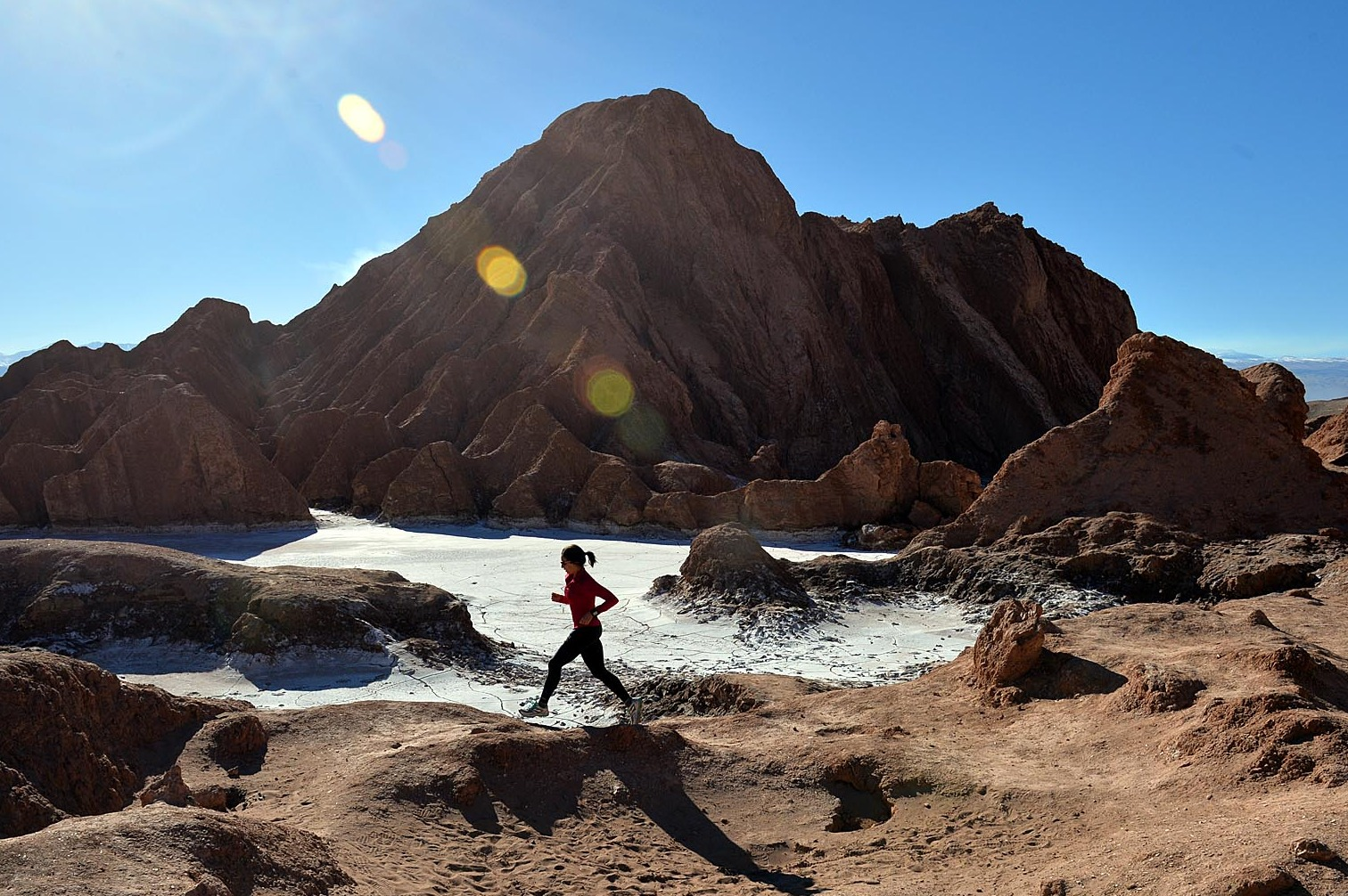Marathon runner at Volcano Marathon, Chile