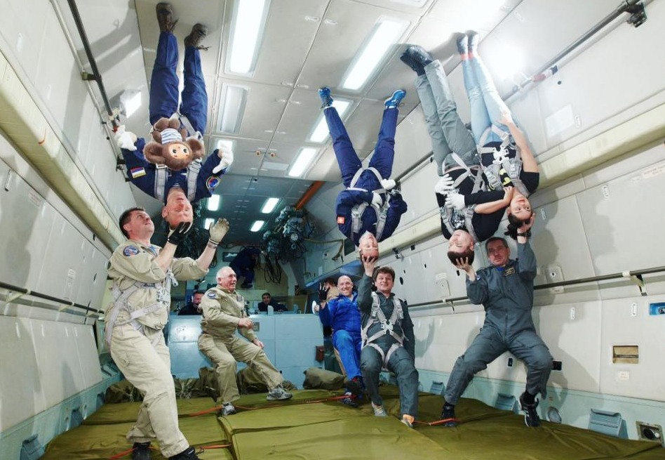 People standing on ceiling during Space Flight Training