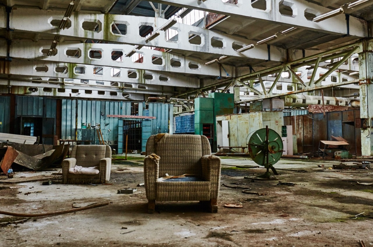 Inside a building at Chernobyl