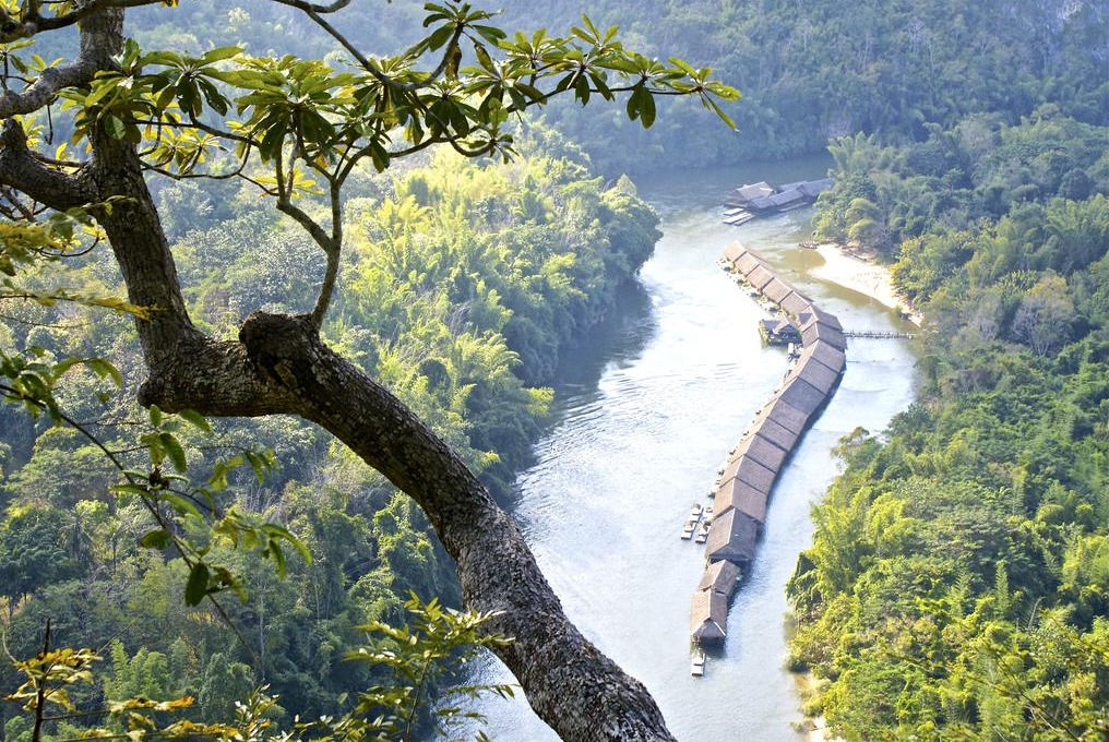 Aerial view of River Kwai Jungle Rafts