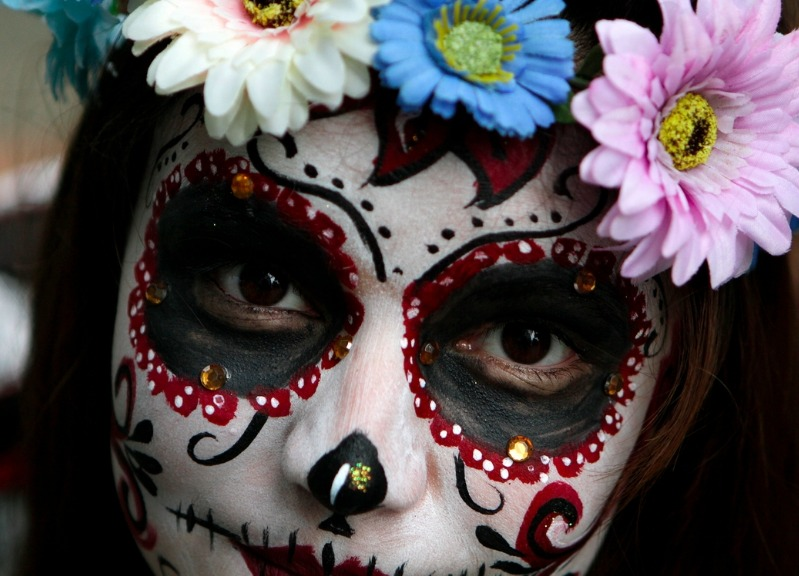 Day of the dead decorative make up on a woman