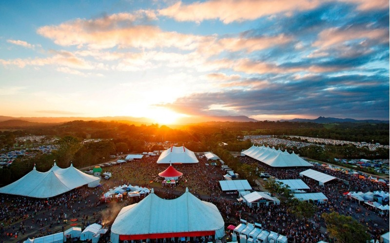 Aerial view of Byron Bay Bluesfest at Sunset