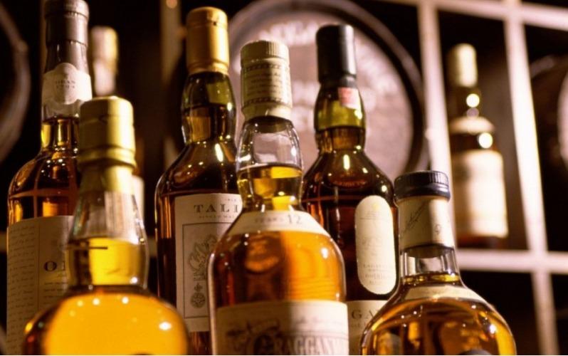 Scottish whiskey bottles