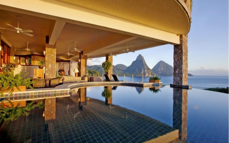 Pool and lounge area at Jade Mountain St. Lucia