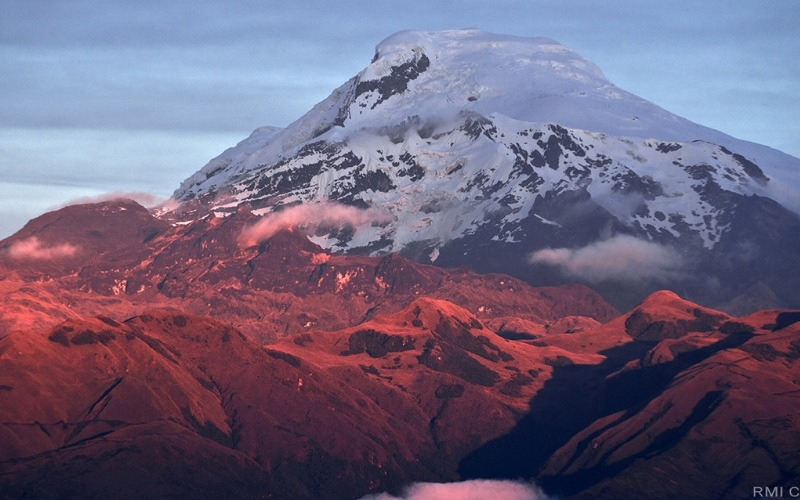 Sunset against a volcano as part of Cayambe Avenue of the Volcanoes tour