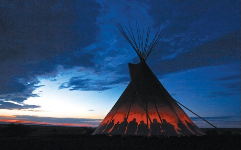 Restival teepee at sunset