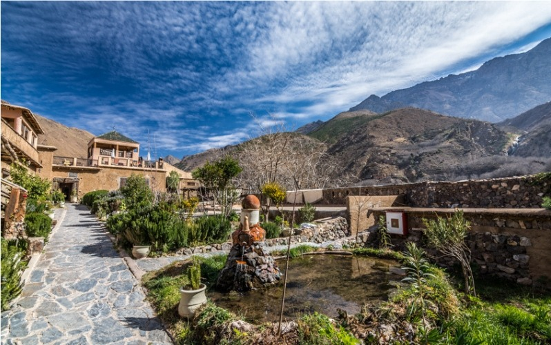 beautiful gardens in the mountains at Kasbah Mountain Refuge