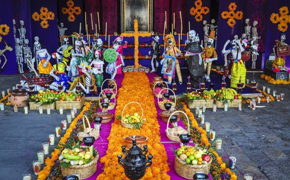 Day of the dead offerings at a shrine