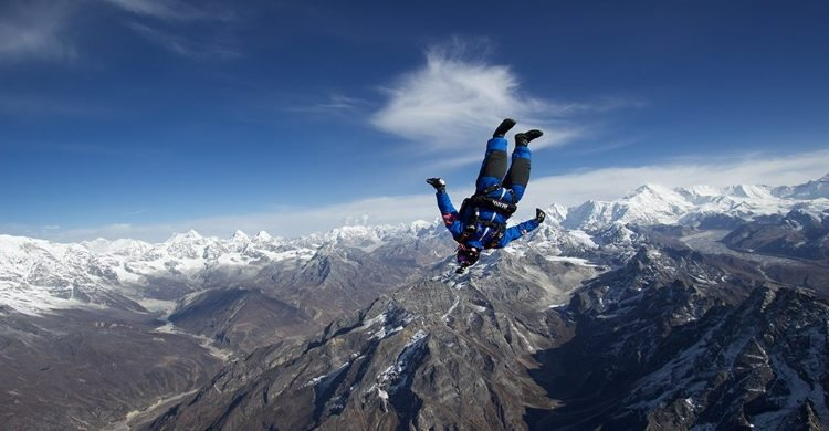 Skydiver from Mount Everest