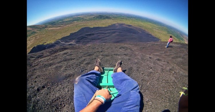 head point of view camera shot of Nicaragua Volcano Boarding