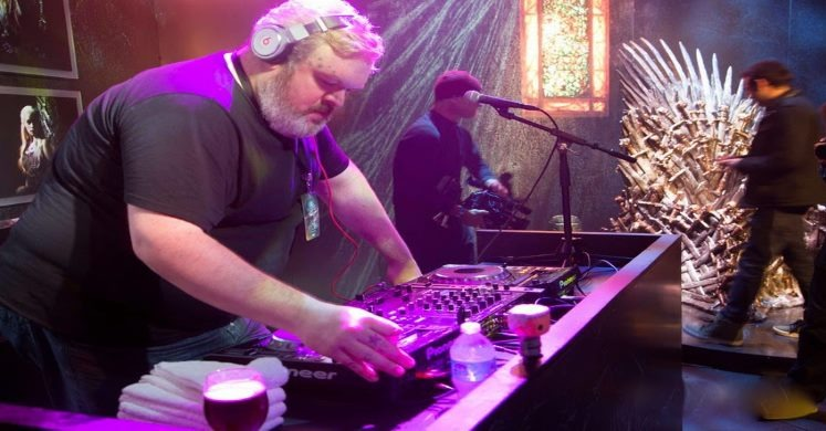 Hodor playing a set as a DJ
