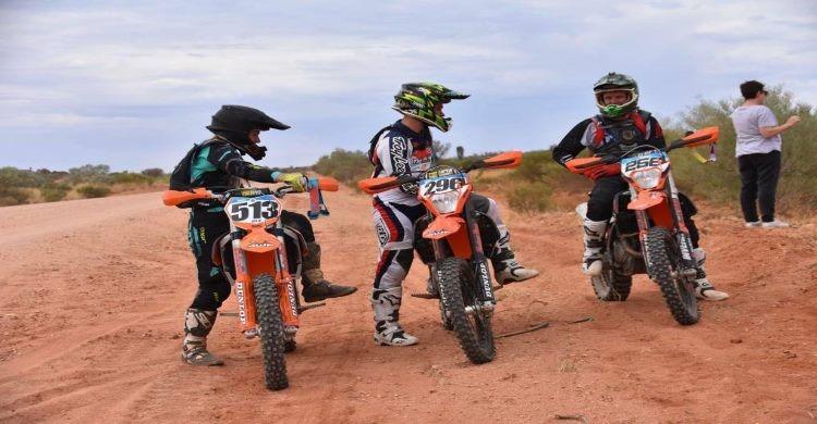 Three riders at the Finke Desert Race
