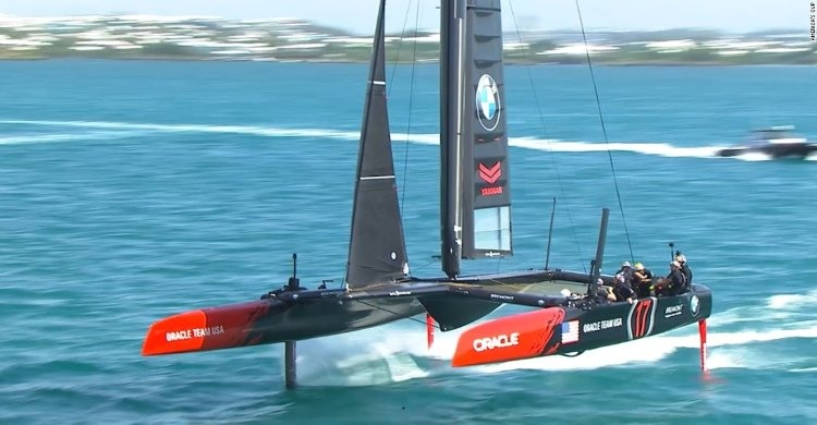 Racing yachts at the Americas Cup