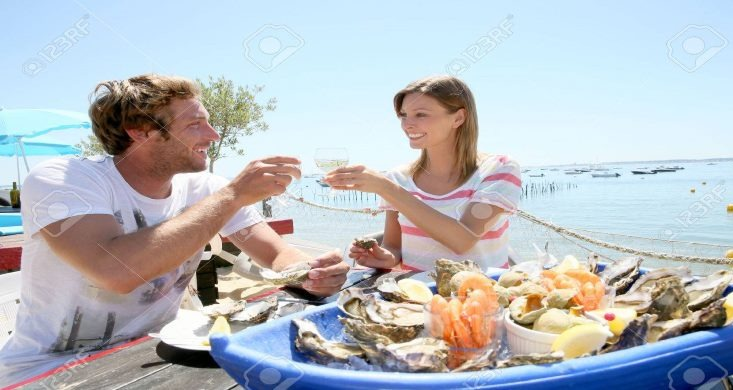 Couple oyster tasting