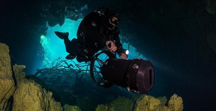 Scuba diver in a cavern in Mexico