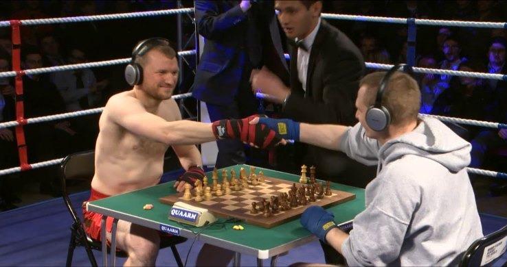 Men sat at Chessboxing, London