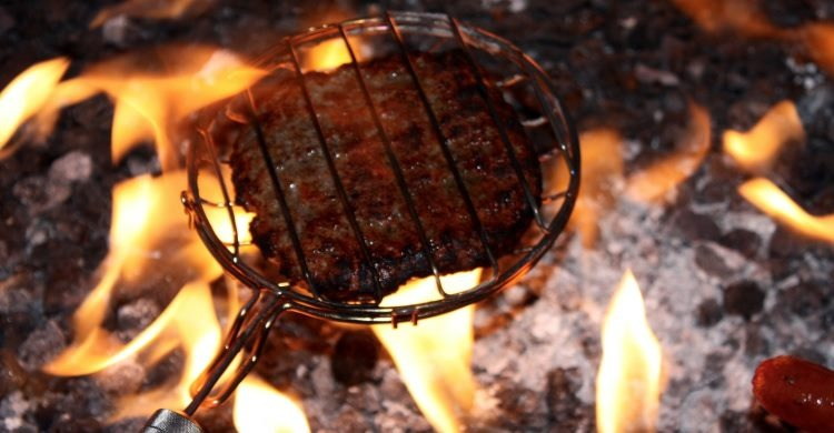 Steak cooked outdoors