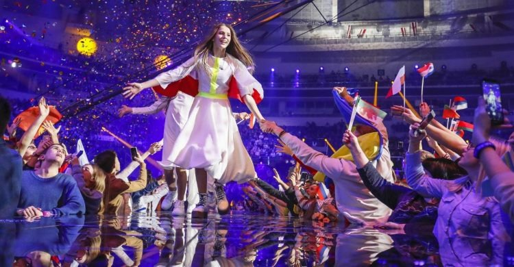 Eurovision stage with winner