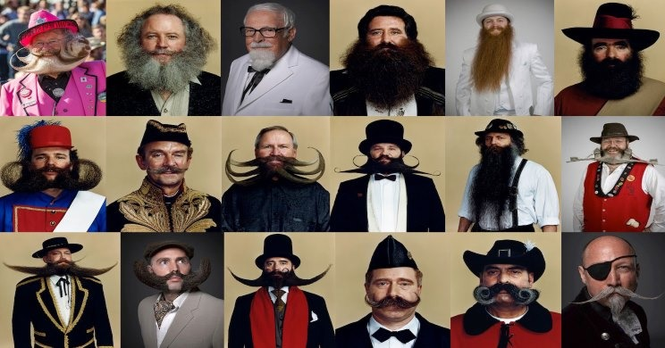 Multiple Beard and Moustache mosaic of past winners of WBMC