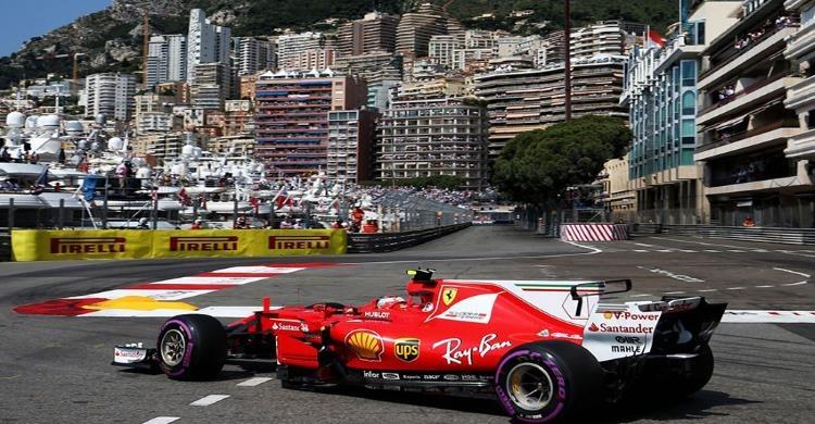 Car on Monaco Grand Prix racing track