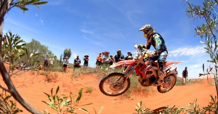 Stunt rider at Finke Desert Race