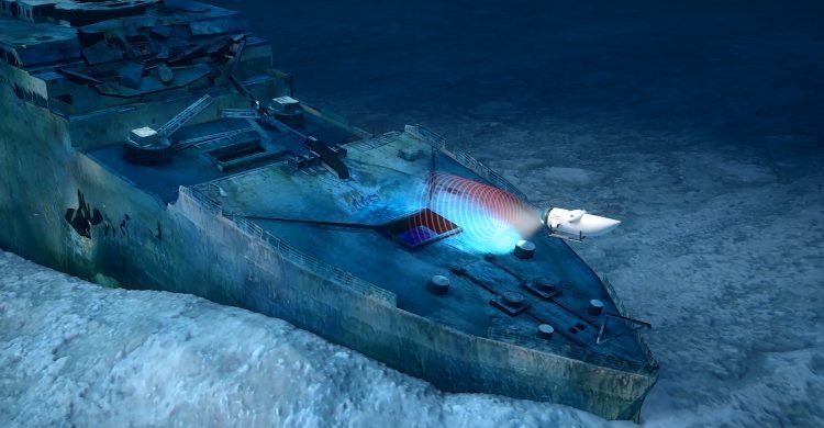 Ship on ocean bottom but with sonar scanning machine