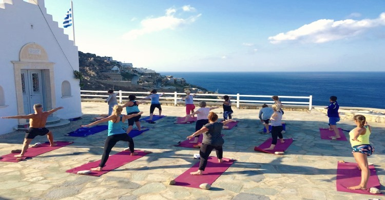 Symi Yoga class overlooking sea