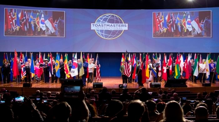 Onstage at Toastmasters International Convention