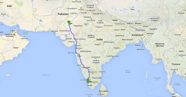 map of rickshaw run across north to south of india
