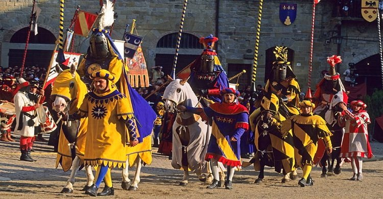 Medieval reenactment in Medieval attire at The Saracen Joust