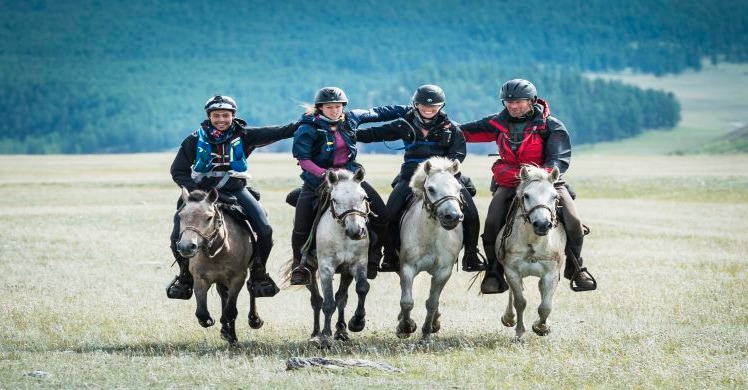 Riders gathered together at The Mongol Derby