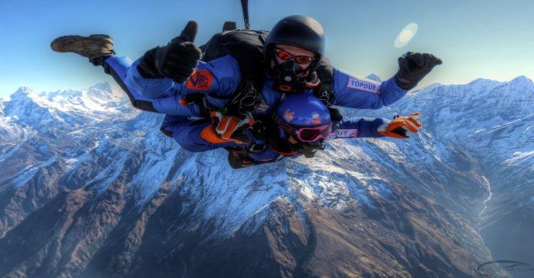 Tandem dive off of Mount Everest