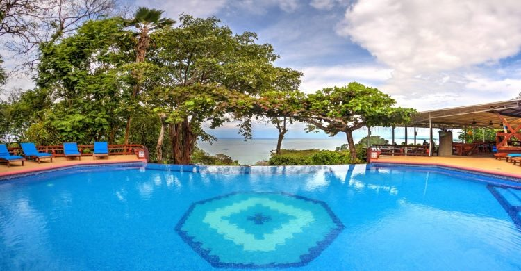 Tulemar Bamboo swimming pool overlooking the beach