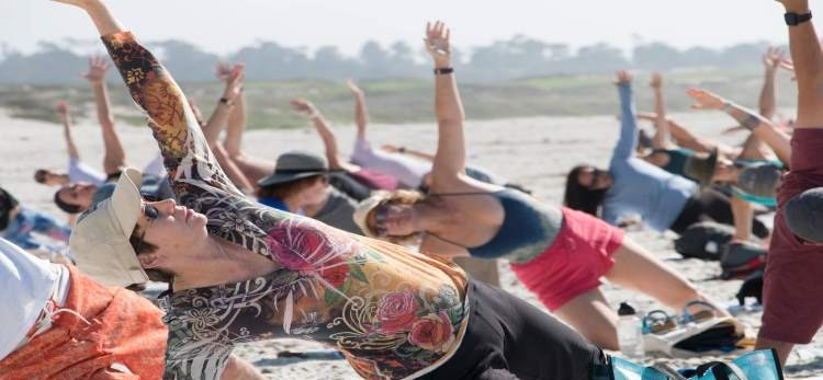 Yoga on the beach at Silent Awakenings