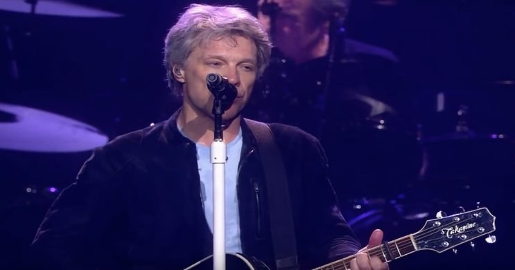 Jon Bon Jovi on stage at Runaway to Paradise