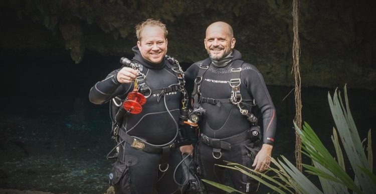 Two scuba divers in Mexico